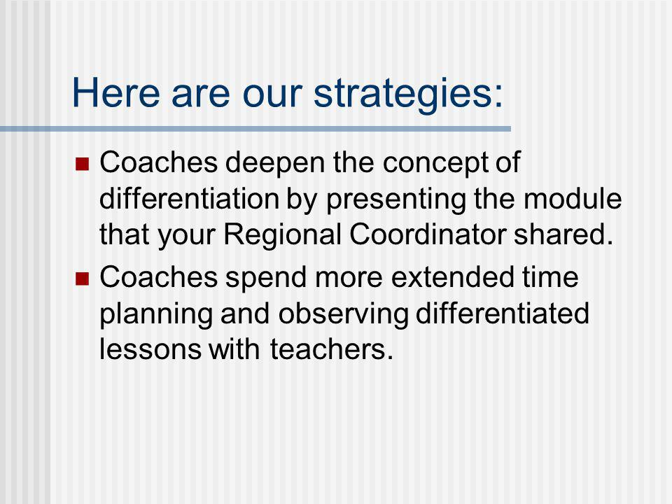 Here are our strategies: Coaches deepen the concept of differentiation by presenting the module that your Regional Coordinator shared. Coaches spend m