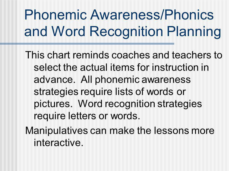 Phonemic Awareness/Phonics and Word Recognition Planning This chart reminds coaches and teachers to select the actual items for instruction in advance