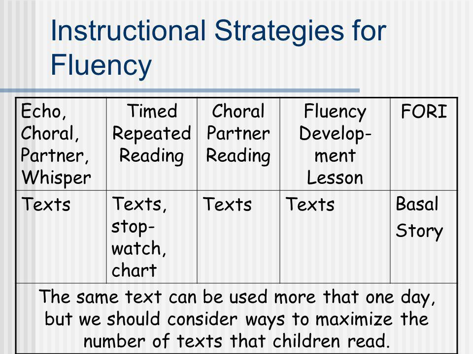 Instructional Strategies for Fluency Echo, Choral, Partner, Whisper Timed Repeated Reading Choral Partner Reading Fluency Develop- ment Lesson FORI Te