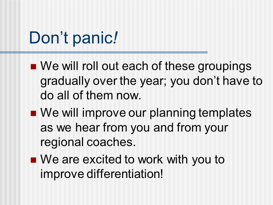 Dont panic! We will roll out each of these groupings gradually over the year; you dont have to do all of them now. We will improve our planning templa
