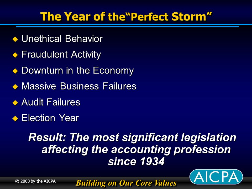 Building on Our Core Values © 2003 by the AICPA The Year of thePerfect Storm Unethical Behavior Unethical Behavior Fraudulent Activity Fraudulent Activity Downturn in the Economy Downturn in the Economy Massive Business Failures Massive Business Failures Audit Failures Audit Failures Election Year Election Year Result: The most significant legislation affecting the accounting profession since 1934