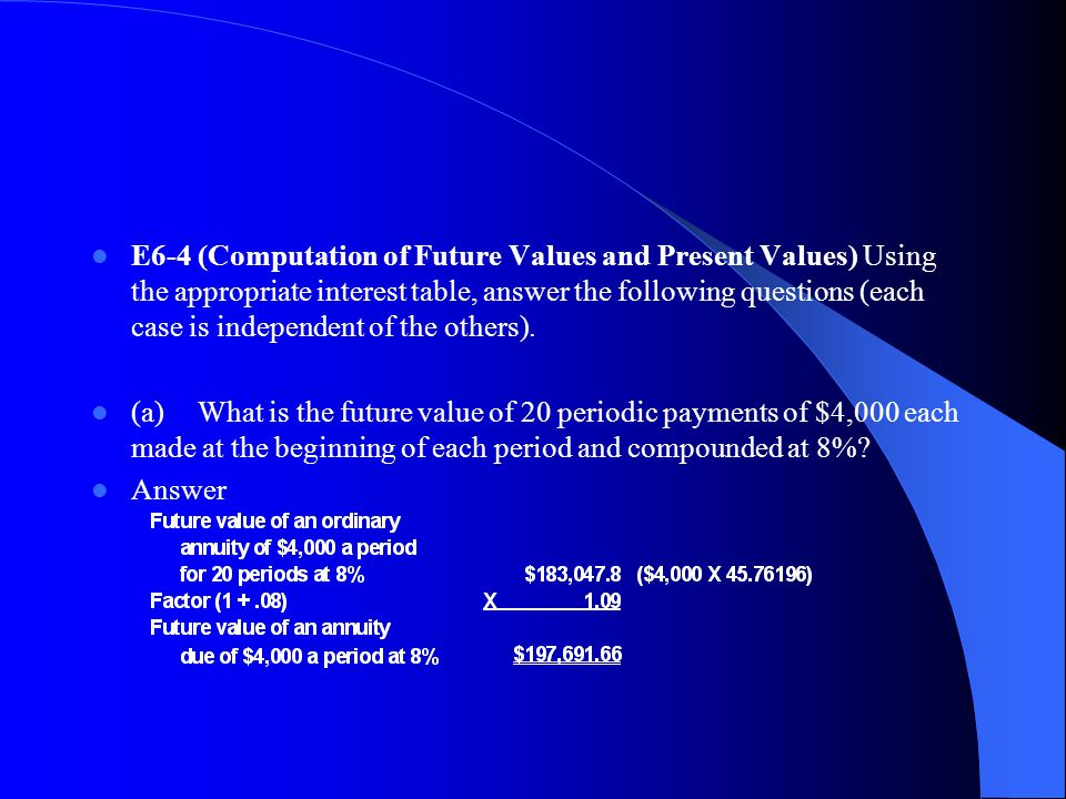 E6 4 (Computation of Future Values and Present Values) Using the appropriate interest table, answer the following questions (each case is independent