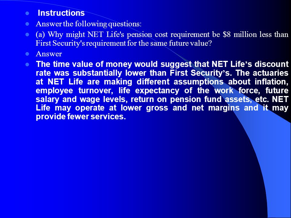 Instructions Answer the following questions: (a) Why might NET Life's pension cost requirement be $8 million less than First Security's requirement fo