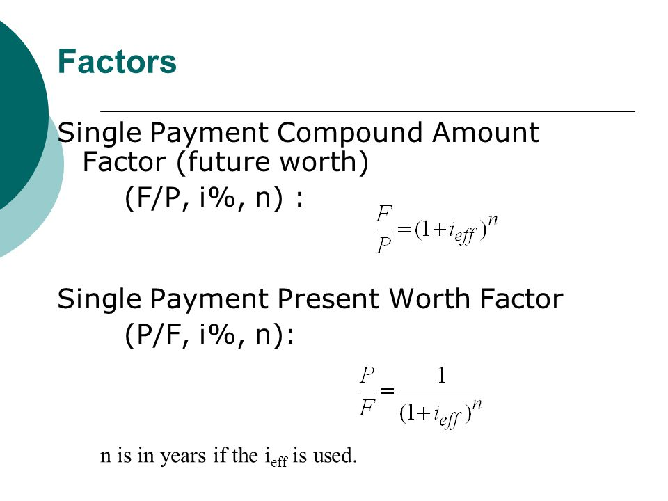 Factors Single Payment Compound Amount Factor (future worth) (F/P, i%, n) : Single Payment Present Worth Factor (P/F, i%, n): n is in years if the i eff is used.