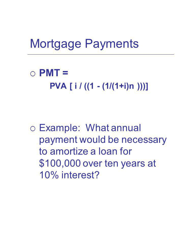 Mortgage Payments PMT = PVA [ i / ((1 - (1/(1+i)n )))] Example: What annual payment would be necessary to amortize a loan for $100,000 over ten years at 10% interest?