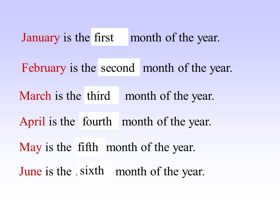 What are the names of the months? April June July May September October December November August March February January