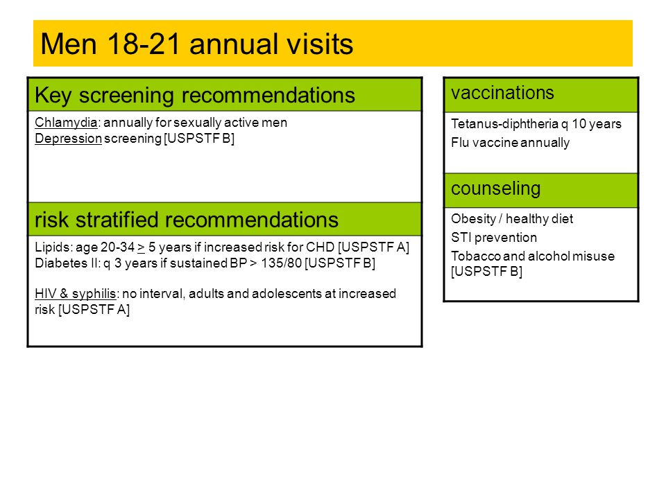 Men 18-21 annual visits Key screening recommendations Chlamydia: annually for sexually active men Depression screening [USPSTF B] risk stratified reco