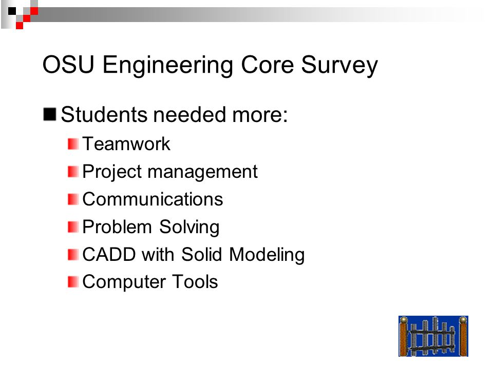 OSU Engineering Core Survey Students needed more: Teamwork Project management Communications Problem Solving CADD with Solid Modeling Computer Tools