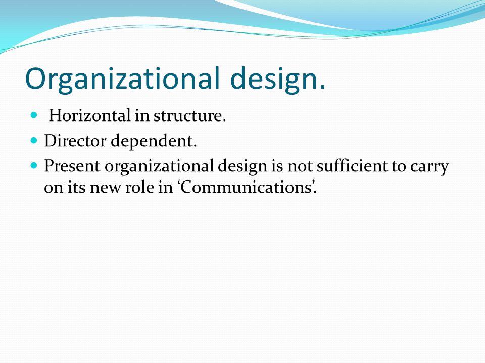 Organizational design. Horizontal in structure. Director dependent.
