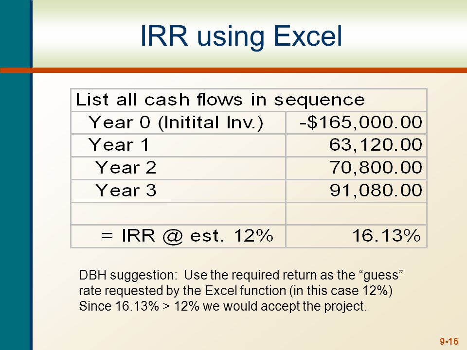 9-16 IRR using Excel DBH suggestion: Use the required return as the guess rate requested by the Excel function (in this case 12%) Since 16.13% > 12% w