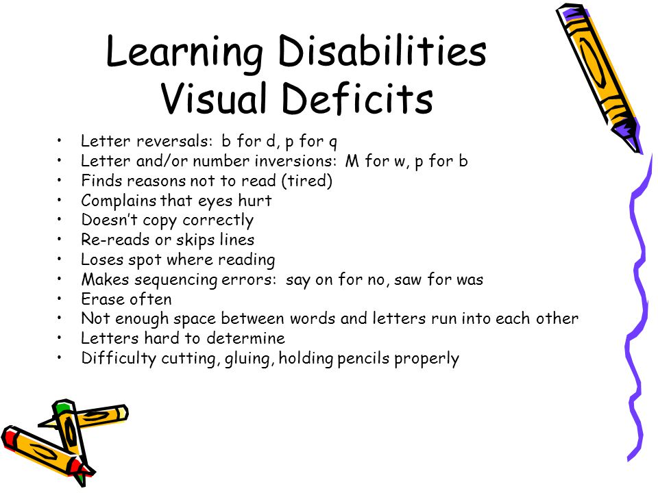 Learning Disabilities Memory Deficits Often doesnt remember what was seen, heard, or shown Difficulty remembering sequences in directions or instructions Often forgets pronunciation of frequently-used words, spelling weak Sight vocabulary weak, reading slow to develop Difficulty memorizing Often appears forgetful Expressive and receptive language is weak Rarely uses appropriate nouns, refers to that thing or you know Often repeats same errors