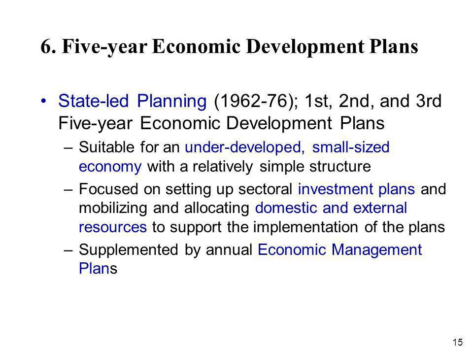 15 6. Five-year Economic Development Plans State-led Planning (1962-76); 1st, 2nd, and 3rd Five-year Economic Development Plans –Suitable for an under