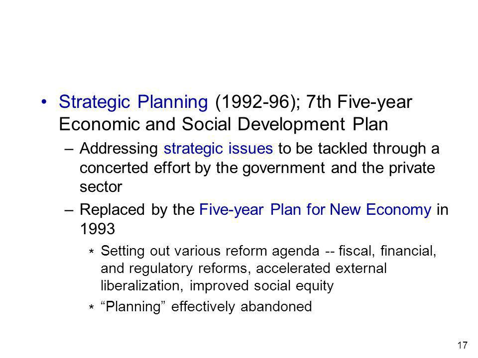 17 Strategic Planning (1992-96); 7th Five-year Economic and Social Development Plan –Addressing strategic issues to be tackled through a concerted effort by the government and the private sector –Replaced by the Five-year Plan for New Economy in 1993 Setting out various reform agenda -- fiscal, financial, and regulatory reforms, accelerated external liberalization, improved social equity Planning effectively abandoned