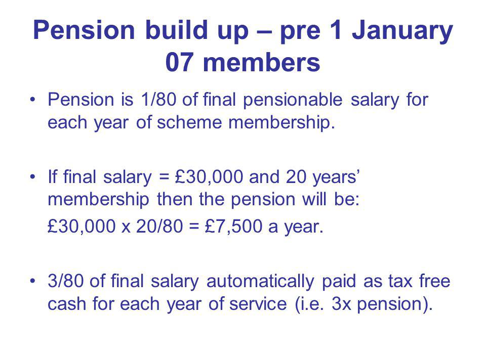 Pension build up – pre 1 January 07 members Pension is 1/80 of final pensionable salary for each year of scheme membership. If final salary = £30,000