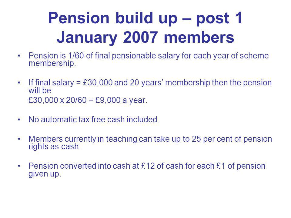 Dependents Pensions Long-term pensions payable at 1/160 of final pensionable salary for each year of survivor benefit service.