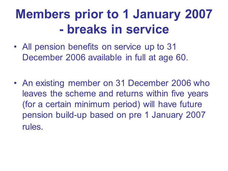 Additional Pension Not possible to buy added years from 1 January 2007 (existing contracts honoured).