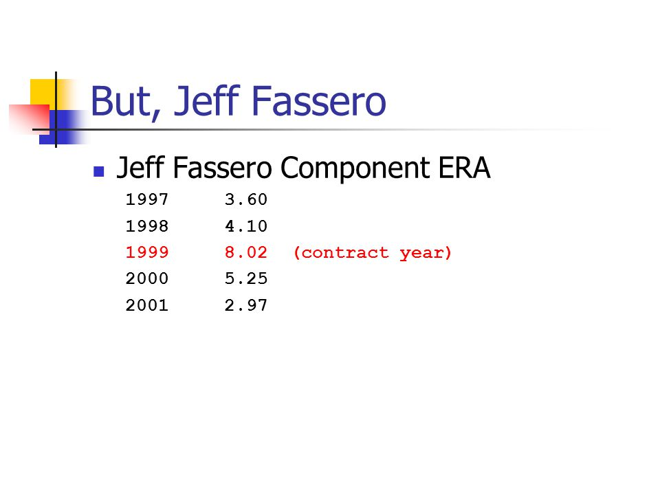 But, Jeff Fassero Jeff Fassero Component ERA 19973.60 19984.10 19998.02 (contract year) 20005.25 20012.97