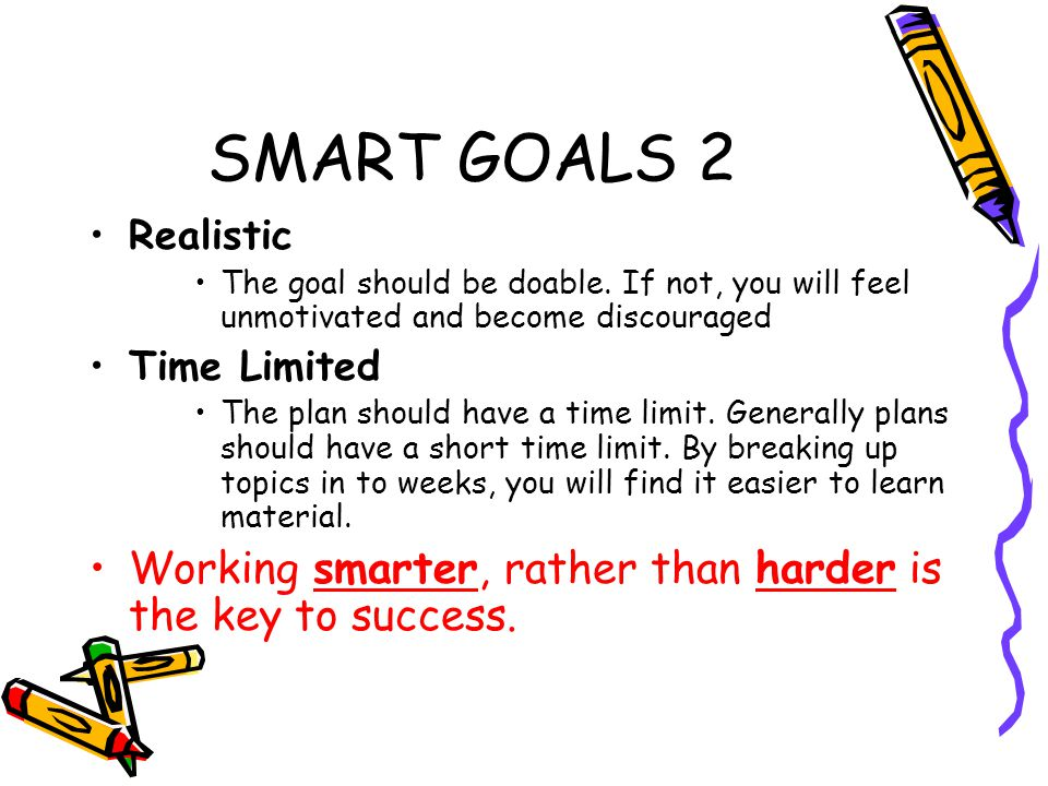Activity Outline the 3 goals you want to achieve by: Christmas Summer By end of 6th year Check to see if these goals are what SMART