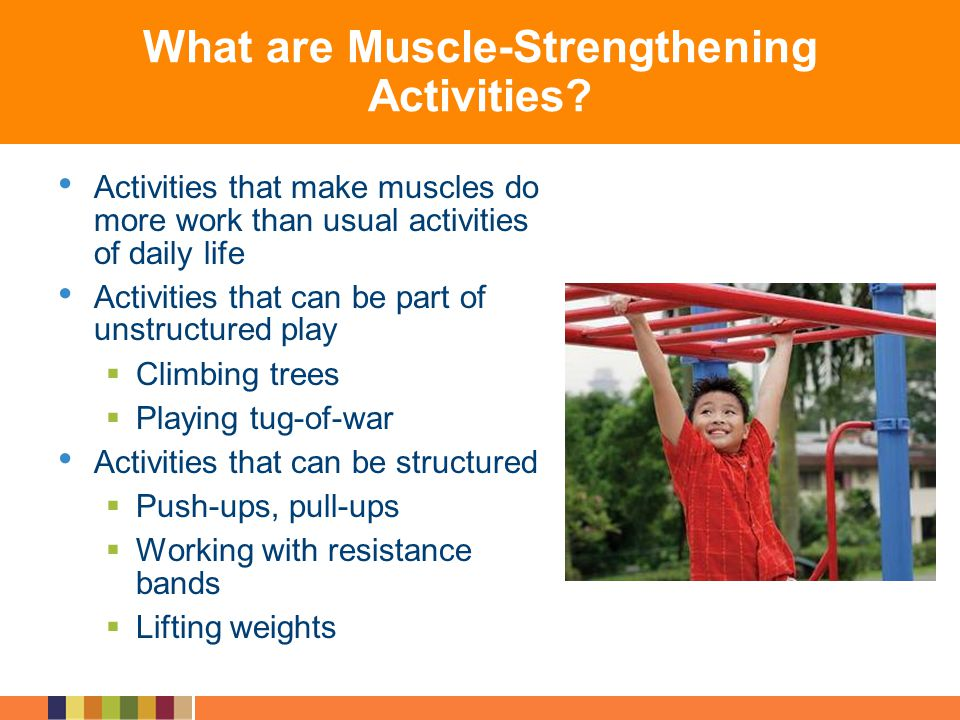 What are Muscle-Strengthening Activities? Activities that make muscles do more work than usual activities of daily life Activities that can be part of