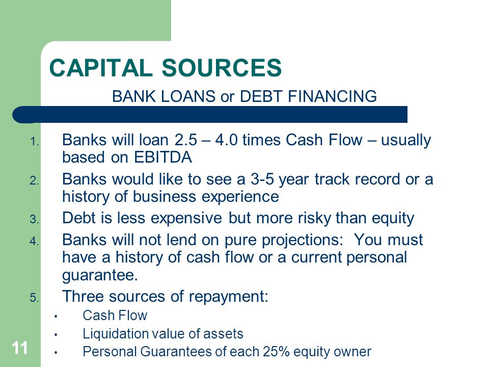 11 CAPITAL SOURCES BANK LOANS or DEBT FINANCING 1.
