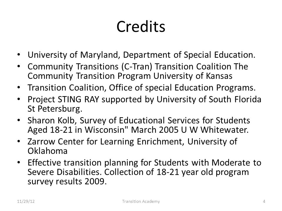 Credits University of Maryland, Department of Special Education.