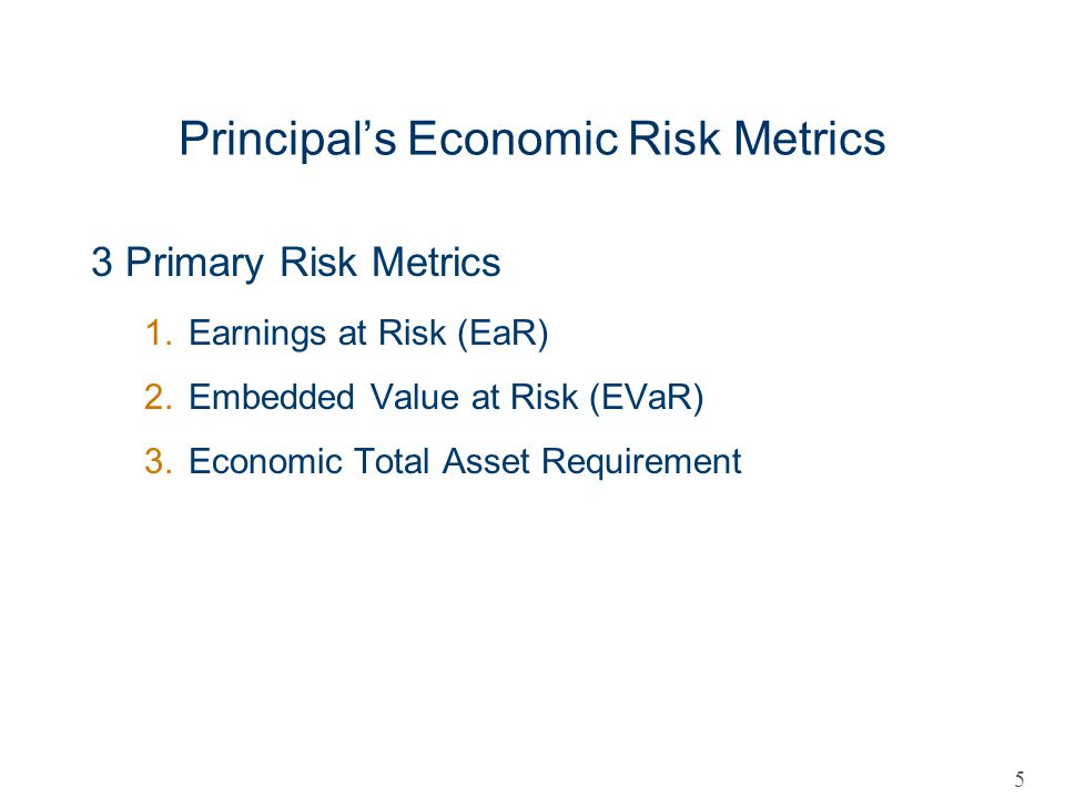 Principals Economic Risk Metrics 3 Primary Risk Metrics 1.Earnings at Risk (EaR) 2.Embedded Value at Risk (EVaR) 3.Economic Total Asset Requirement 5