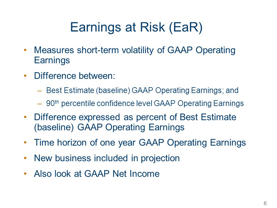 Earnings at Risk (EaR) Measures short-term volatility of GAAP Operating Earnings Difference between: –Best Estimate (baseline) GAAP Operating Earnings