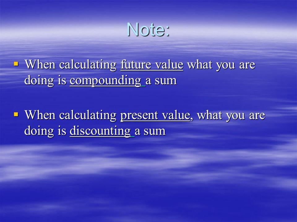 Note: When calculating future value what you are doing is compounding a sum When calculating future value what you are doing is compounding a sum When