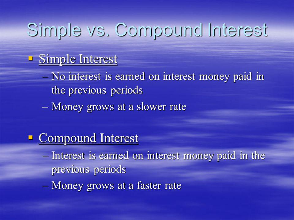 Simple vs. Compound Interest Simple Interest Simple Interest –No interest is earned on interest money paid in the previous periods –Money grows at a s