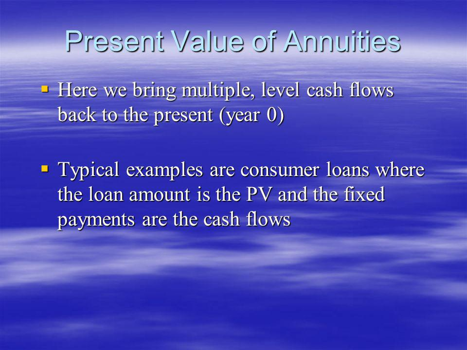 Present Value of Annuities Here we bring multiple, level cash flows back to the present (year 0) Here we bring multiple, level cash flows back to the