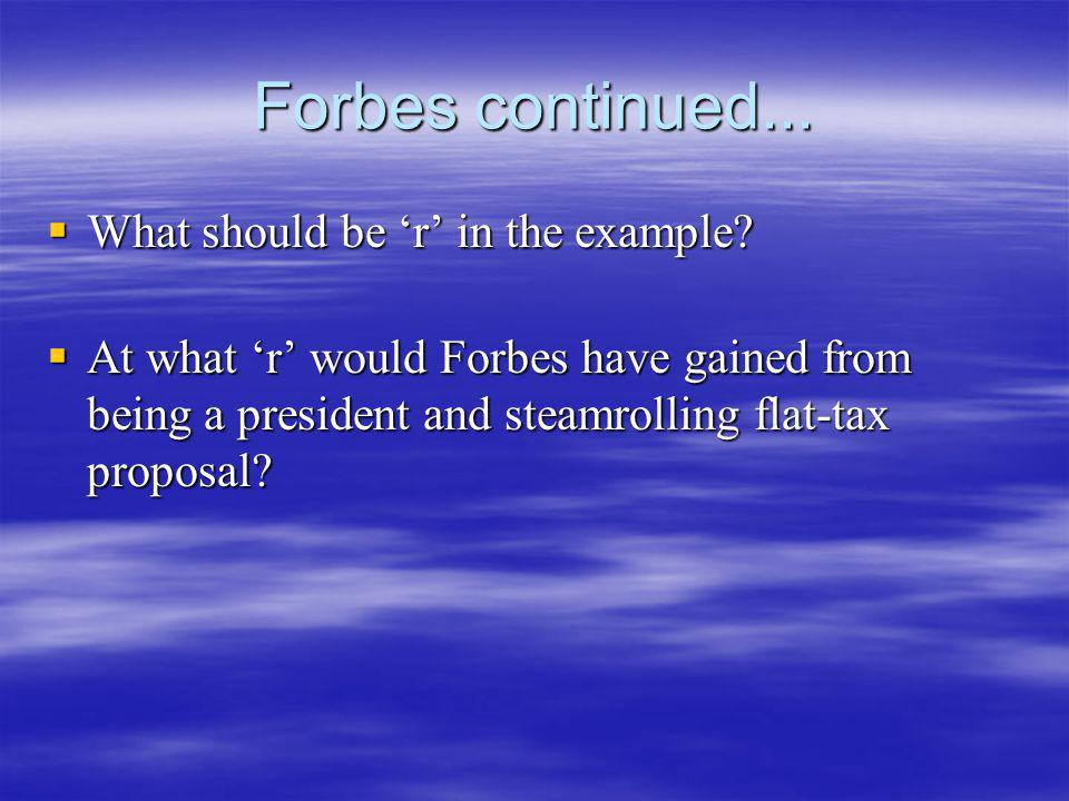 Forbes continued... What should be r in the example? What should be r in the example? At what r would Forbes have gained from being a president and st