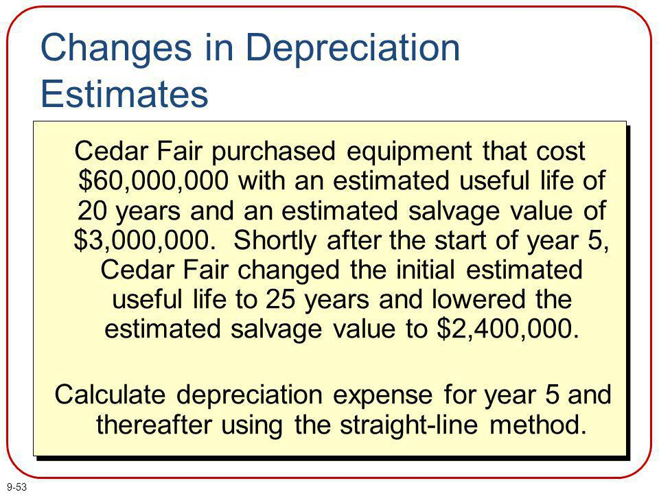 9-54 Book value at date of change Residual value at date of change Remaining useful life at date of change – Changes in Depreciation Estimates When our estimates change, the new depreciation is:
