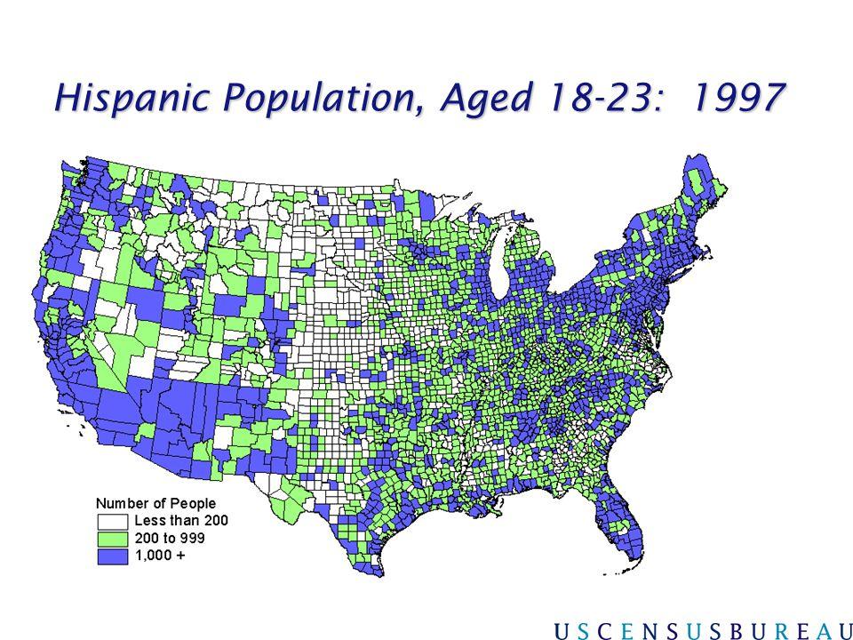Hispanic Population, Aged 18-23: 1997