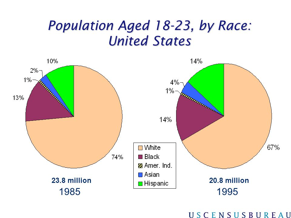 Population Aged 18-23, by Race: United States 20002010 22.8 million26.1 million
