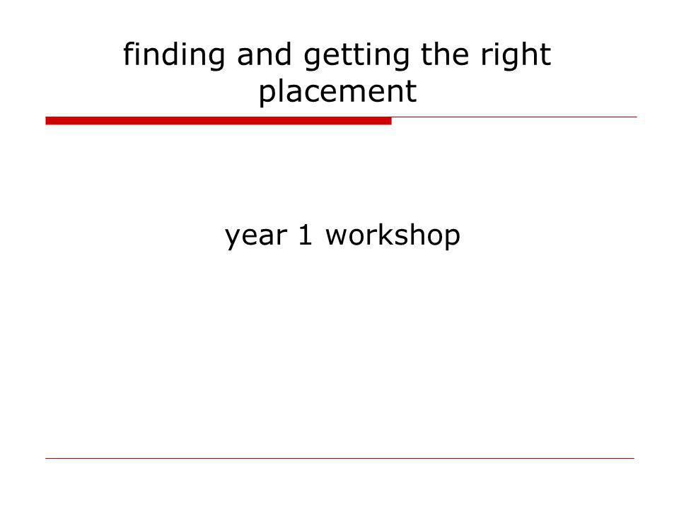 finding and getting the right placement year 1 workshop