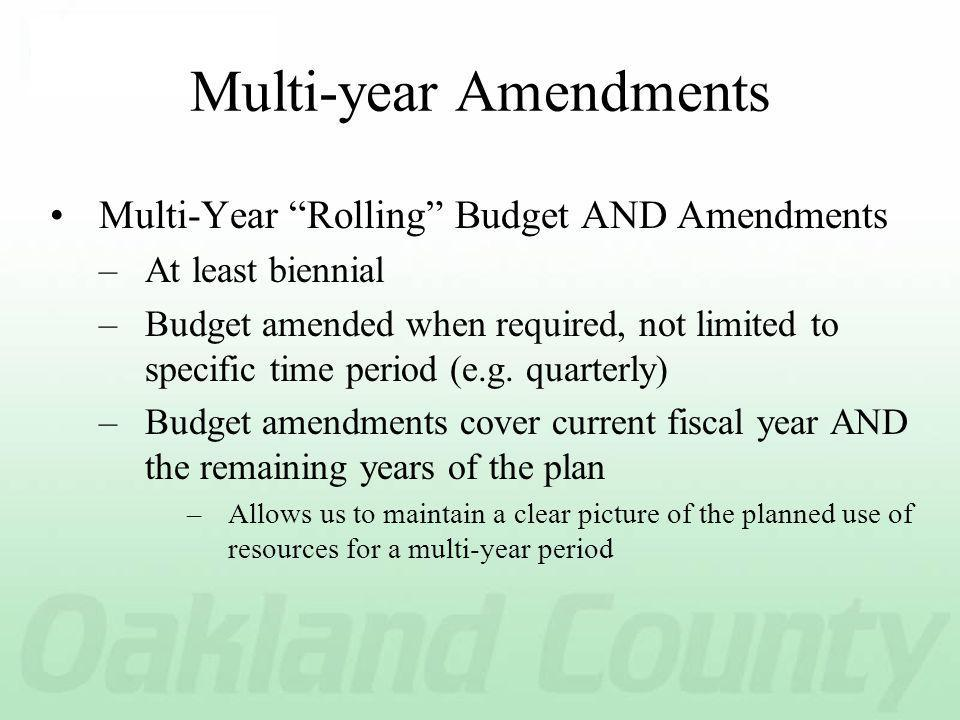 Multi-year Amendments Multi-Year Rolling Budget AND Amendments –At least biennial –Budget amended when required, not limited to specific time period (e.g.