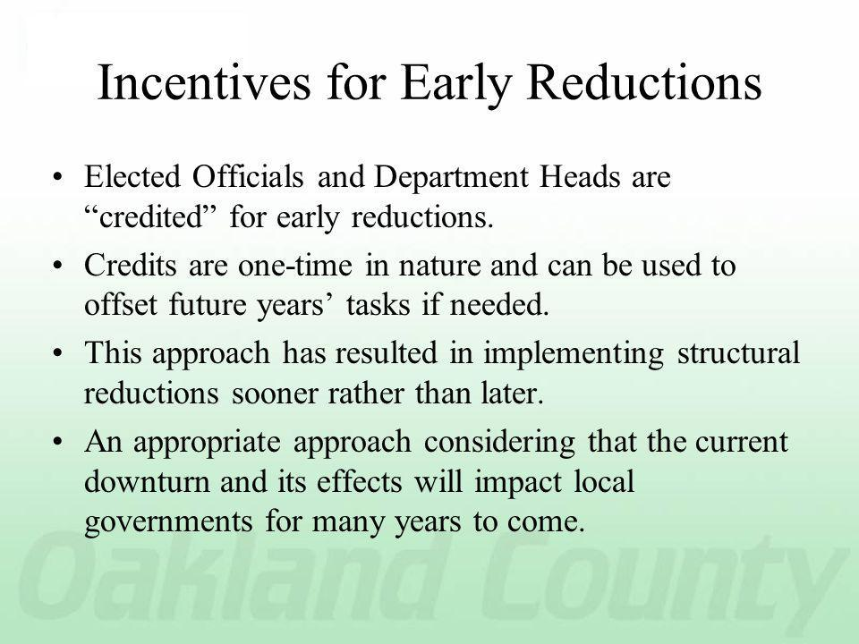 Incentives for Early Reductions Elected Officials and Department Heads are credited for early reductions.