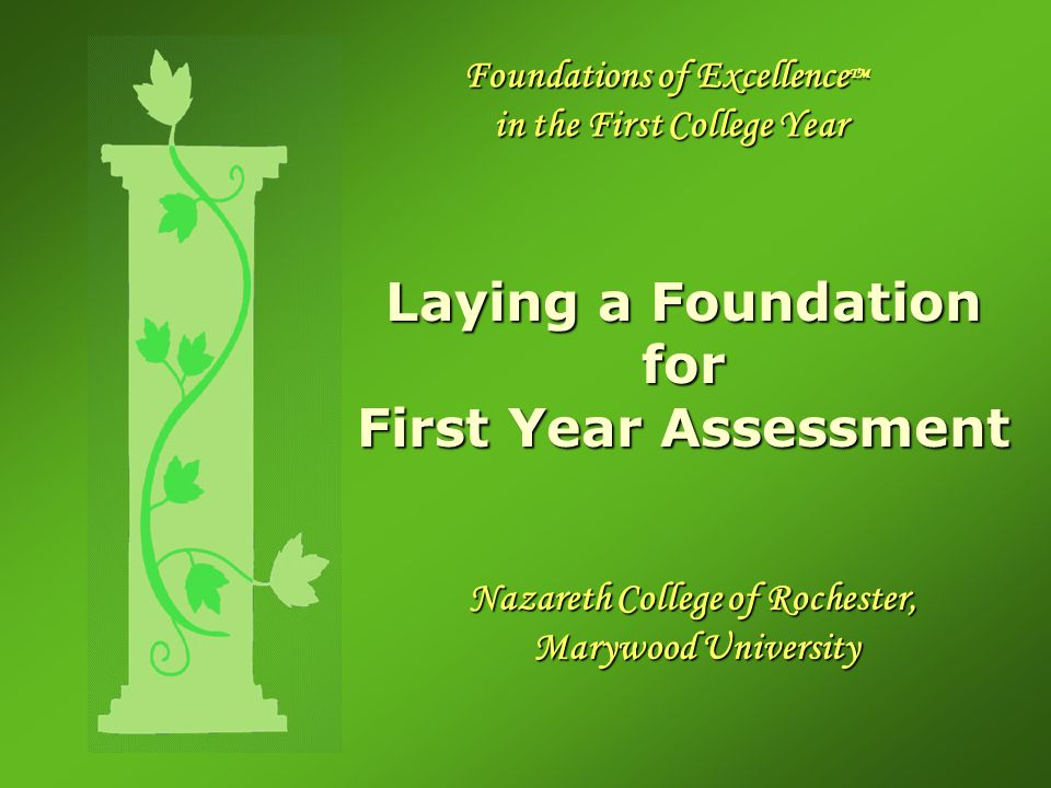 Foundations of Excellence TM in the First College Year Laying a Foundation for First Year Assessment Nazareth College of Rochester, Marywood University