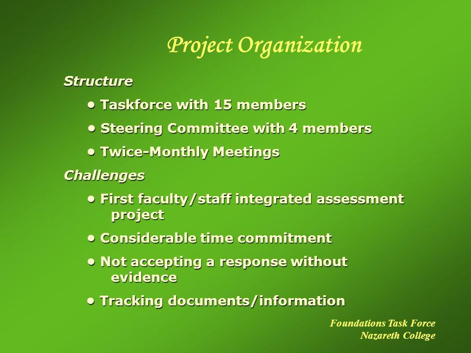 Project Organization Structure Taskforce with 15 members Taskforce with 15 members Steering Committee with 4 members Steering Committee with 4 members Twice-Monthly Meetings Twice-Monthly MeetingsChallenges First faculty/staff integrated assessment project First faculty/staff integrated assessment project Considerable time commitment Considerable time commitment Not accepting a response without evidence Not accepting a response without evidence Tracking documents/information Tracking documents/information Foundations Task Force Nazareth College