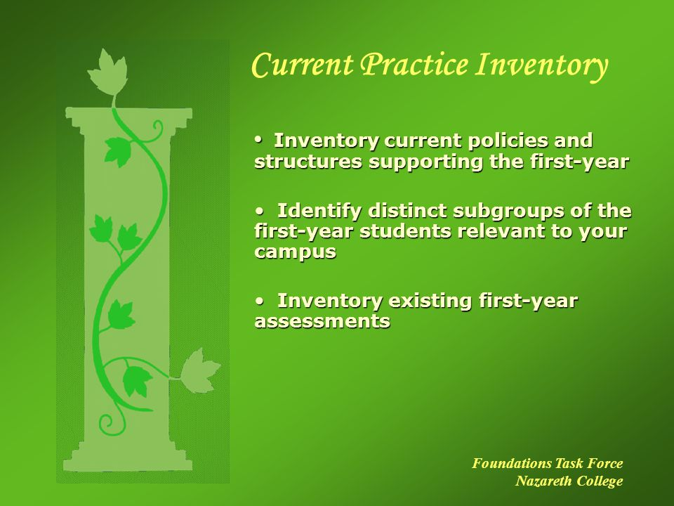Current Practice Inventory Inventory current policies and structures supporting the first-year Inventory current policies and structures supporting the first-year Identify distinct subgroups of the first-year students relevant to your campus Identify distinct subgroups of the first-year students relevant to your campus Inventory existing first-year assessments Inventory existing first-year assessments Foundations Task Force Nazareth College