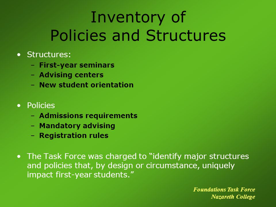 Inventory of Policies and Structures Structures: –First-year seminars –Advising centers –New student orientation Policies –Admissions requirements –Mandatory advising –Registration rules The Task Force was charged to identify major structures and policies that, by design or circumstance, uniquely impact first-year students.