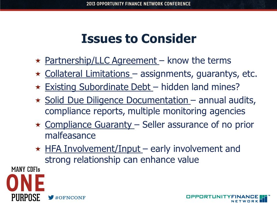 Issues to Consider Partnership/LLC Agreement – know the terms Collateral Limitations – assignments, guarantys, etc. Existing Subordinate Debt – hidden