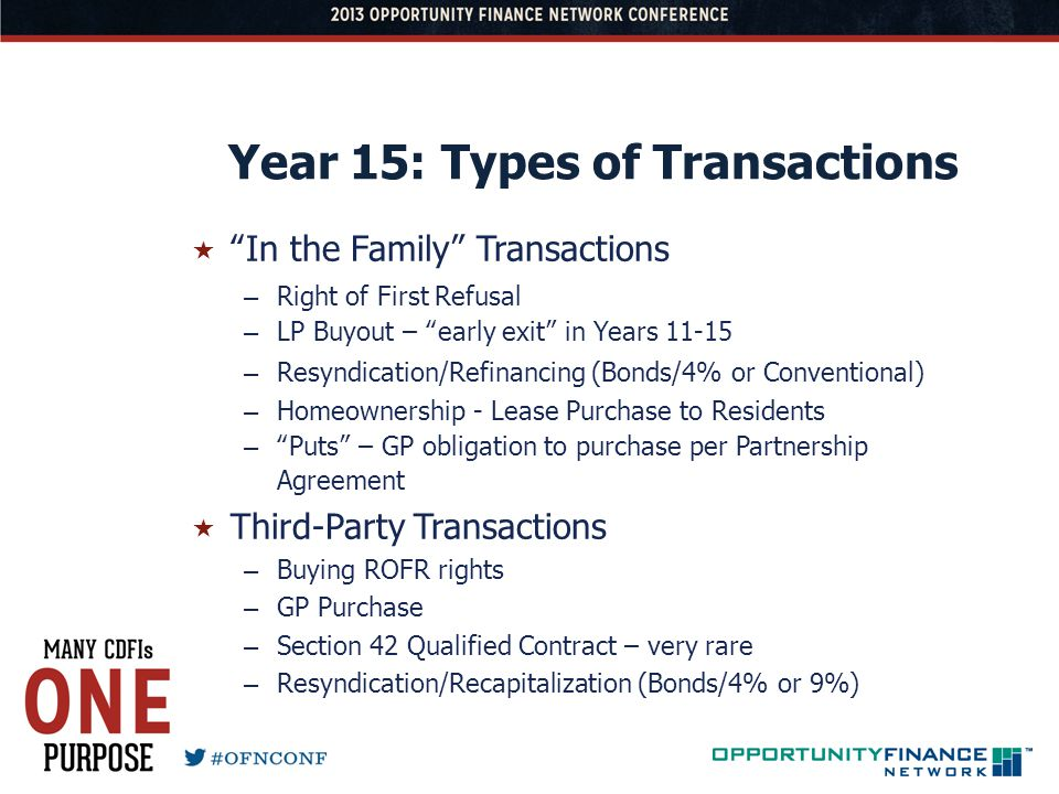 Year 15: Types of Transactions In the Family Transactions – Right of First Refusal – LP Buyout – early exit in Years 11-15 – Resyndication/Refinancing