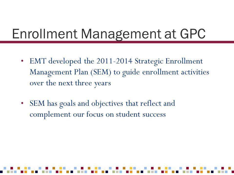 Enrollment Management at GPC EMT developed the 2011-2014 Strategic Enrollment Management Plan (SEM) to guide enrollment activities over the next three