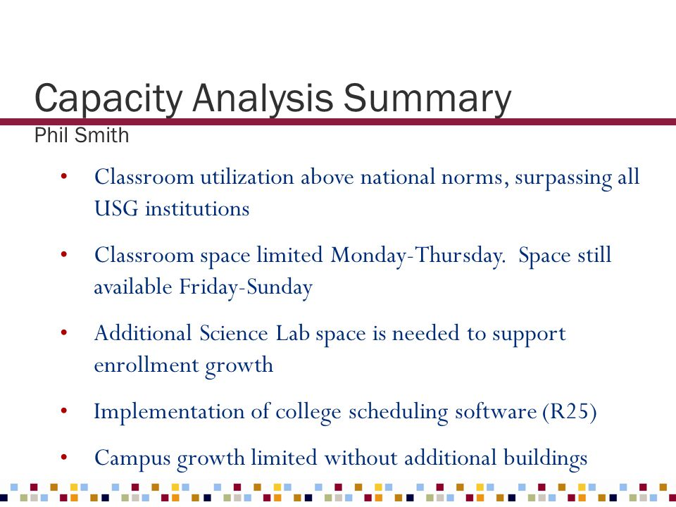Capacity Analysis Summary Phil Smith Classroom utilization above national norms, surpassing all USG institutions Classroom space limited Monday-Thursd