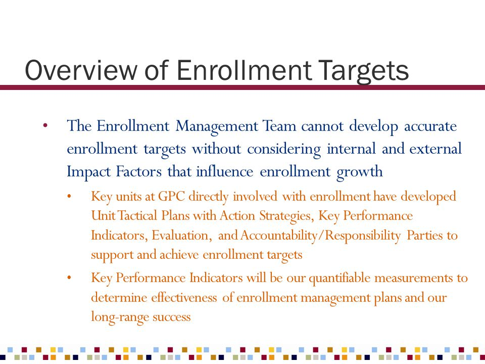 Overview of Enrollment Targets The Enrollment Management Team cannot develop accurate enrollment targets without considering internal and external Imp