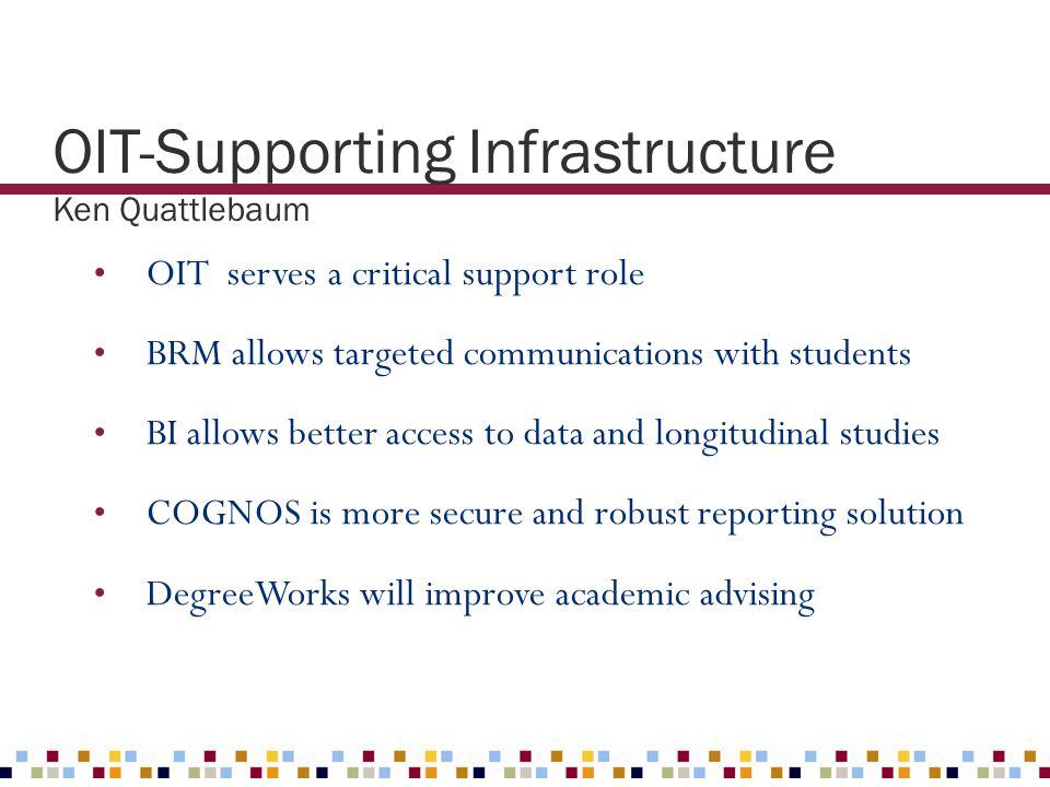 OIT-Supporting Infrastructure Ken Quattlebaum OIT serves a critical support role BRM allows targeted communications with students BI allows better acc