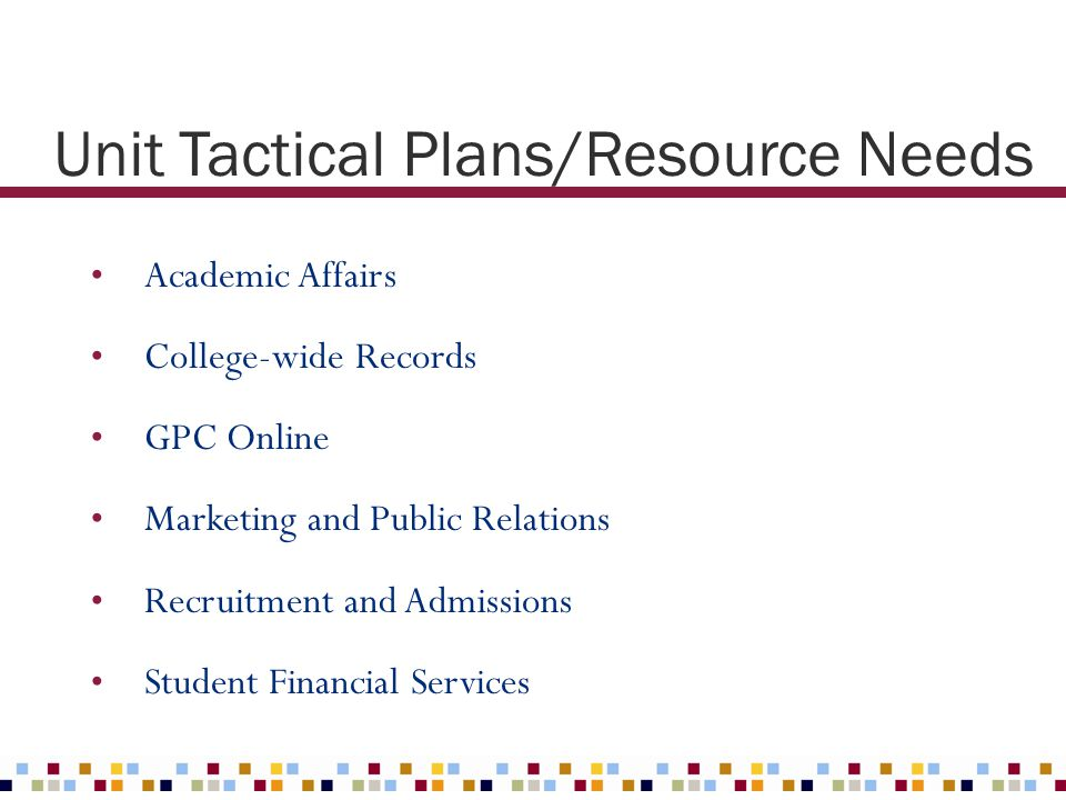 Unit Tactical Plans/Resource Needs Academic Affairs College-wide Records GPC Online Marketing and Public Relations Recruitment and Admissions Student