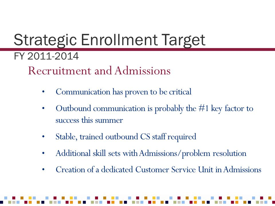 Strategic Enrollment Target FY 2011-2014 Recruitment and Admissions Communication has proven to be critical Outbound communication is probably the #1