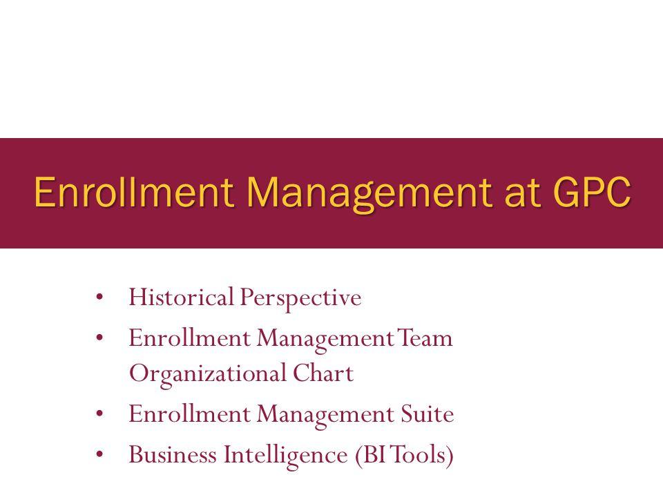 Enrollment Management at GPC Historical Perspective Enrollment Management Team Organizational Chart Enrollment Management Suite Business Intelligence